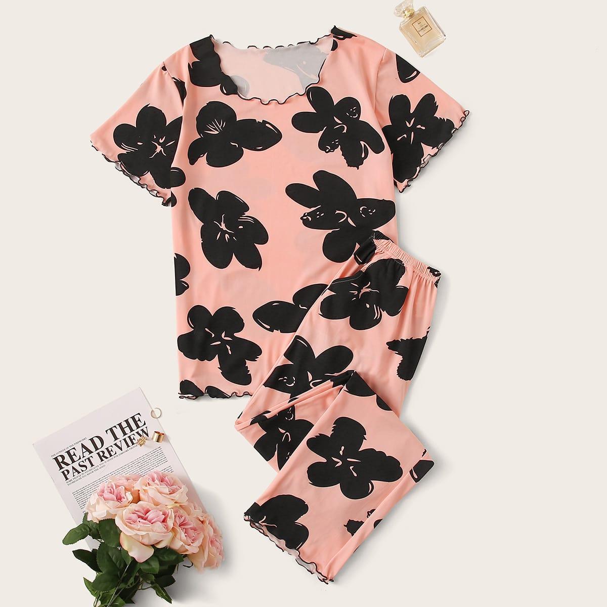 Пижама с оригинальной отделкой и цветочным принтом от SHEIN