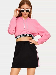 Letter Tape Crop Drawstring Hoodie With Skirt
