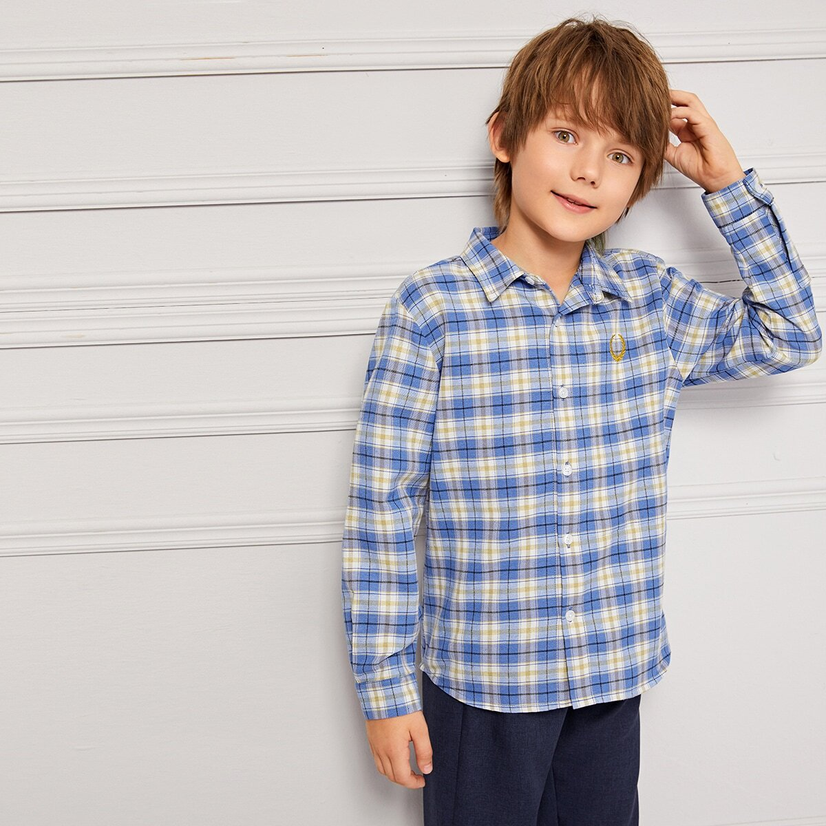 Blauw School  Ruitmotief Jongens overhemden Borduurwerk
