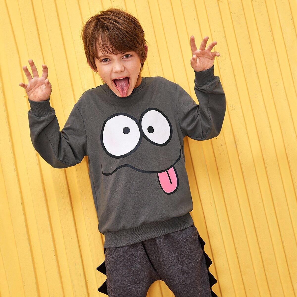 Grijs Casual Spotprent Jongens Sweatshirts