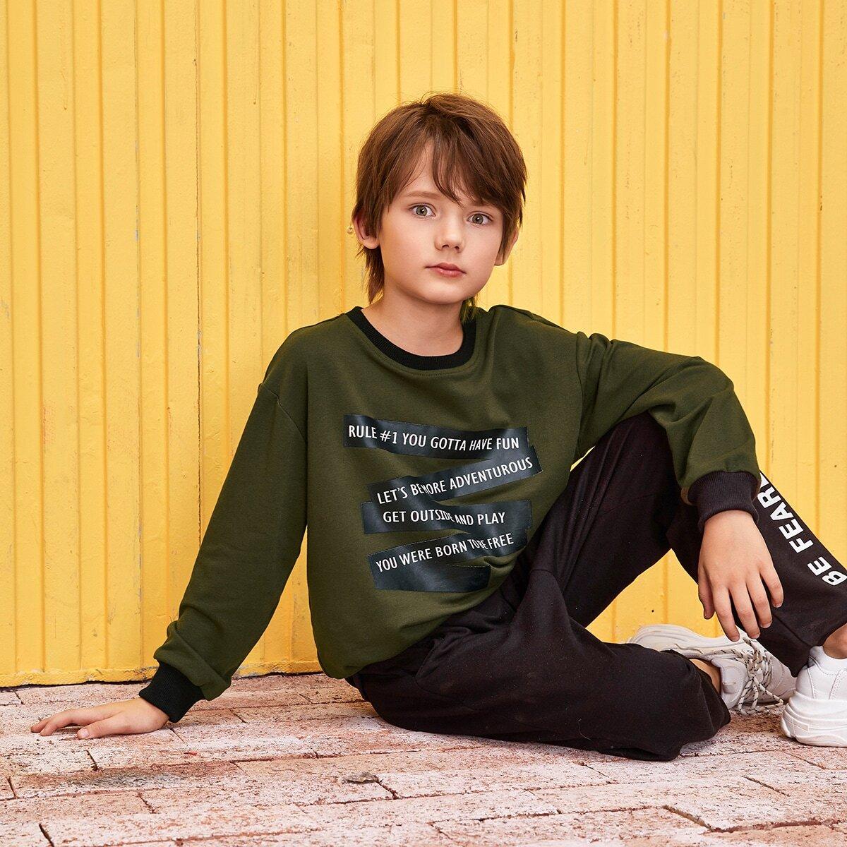 Zwart Casual Slogan Jongens Sweatshirts Kleurblok