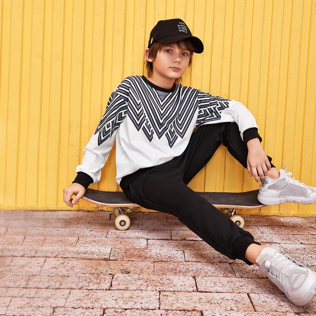 Zwart & wit Casual Chevron Tweedelige jongens outfits Contrasterende Zomen