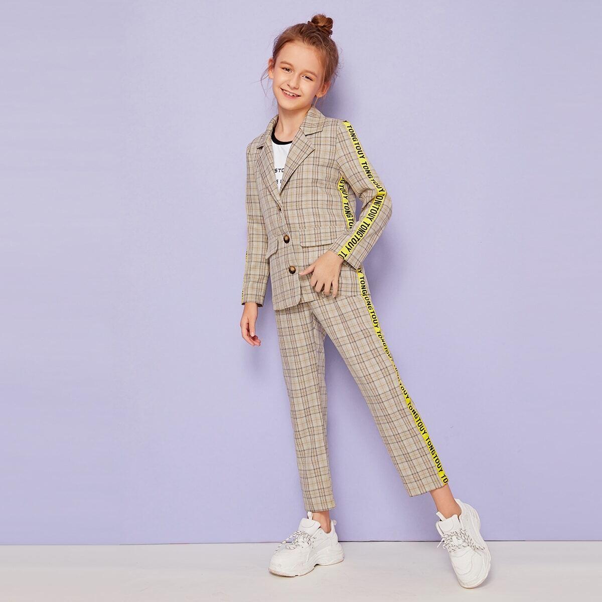 Брюки и пиджак в клетку с текстовой лентой для девочек от SHEIN