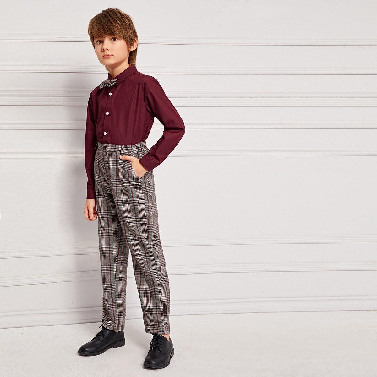 Veel kleurig School  Ruitmotief Tweedelige jongens outfits Boog