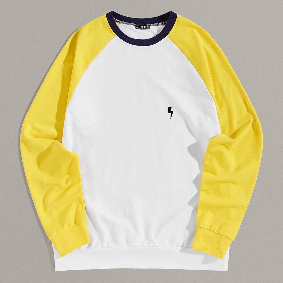 Wit Casual Kleurblok Sweatshirts voor heren