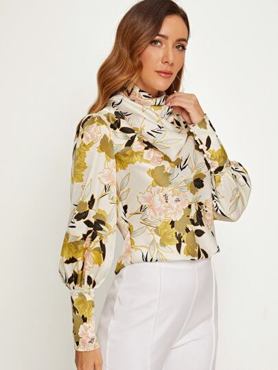 SheIn / Draped Neck Leg-of-mutton Sleeve Floral Satin Top