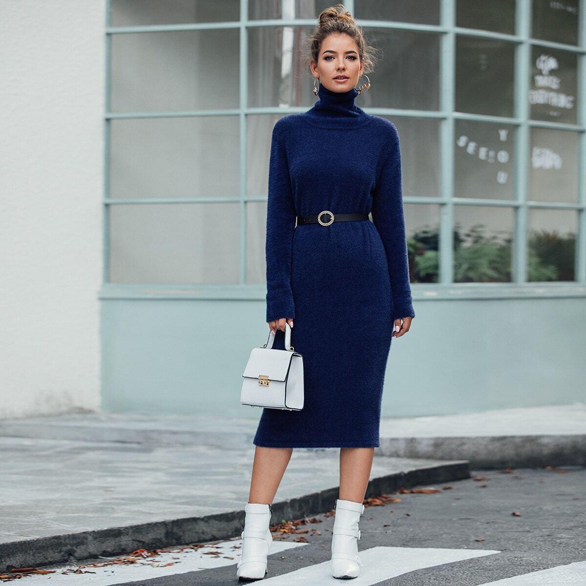 SHEIN / Strick Sweater Kleid mit hohem Kragen