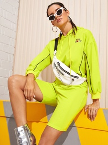 Neon Lime Embroidery Hoodie & Biker Shorts Without Bag