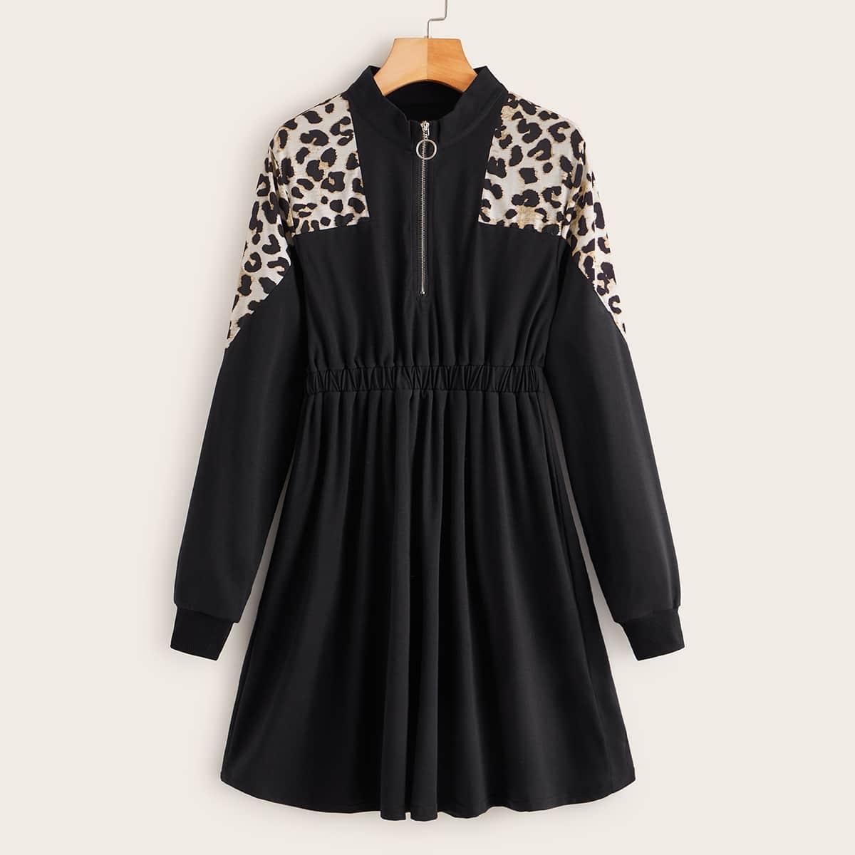 Свитшот-платье на молнии с леопардовым принтом
