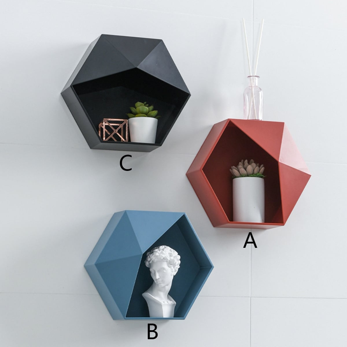Geometrisch gevormd wandmontagerek 1 st