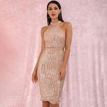 LOVE&LEMONADE Slit Hem Sequin Midi Bodycon Halter Dress