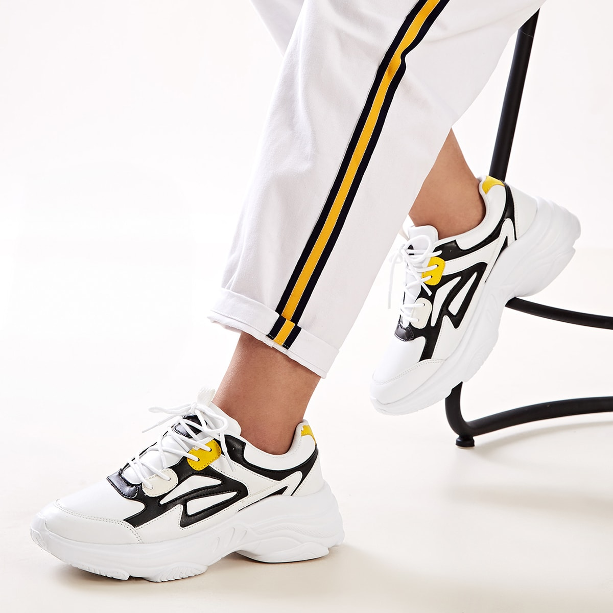 Zwart & wit Comfortabel sneakers Kant