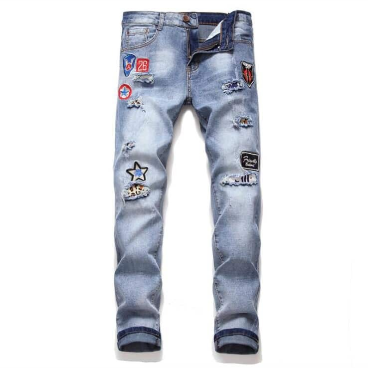 Blauw Casual Tekst Heren Jeans Patched