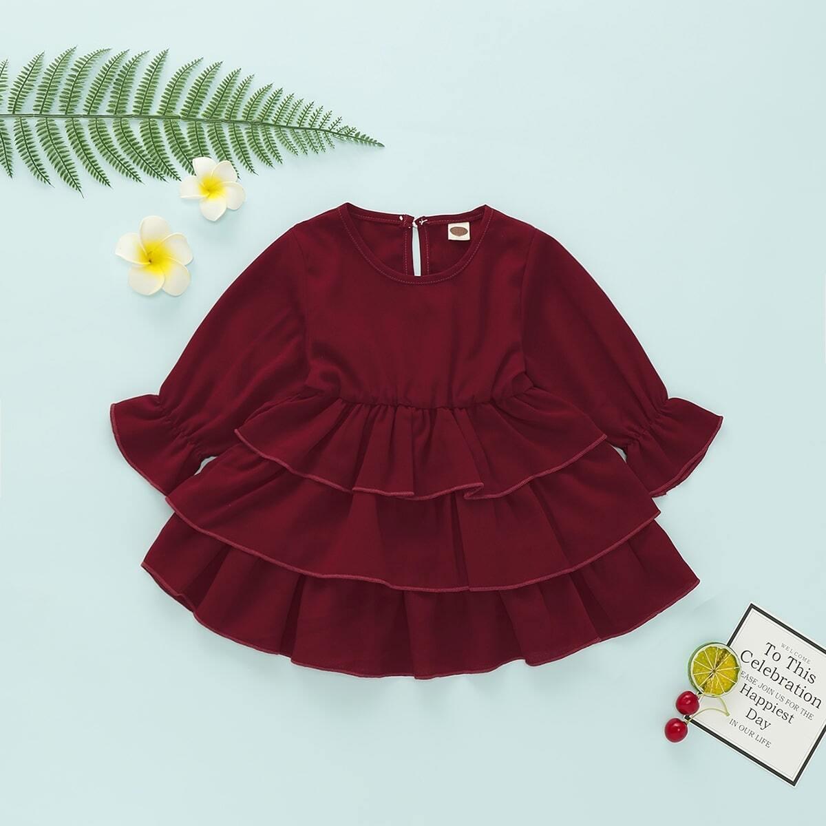 Платье с оригинальным рукавом для девочек от SHEIN