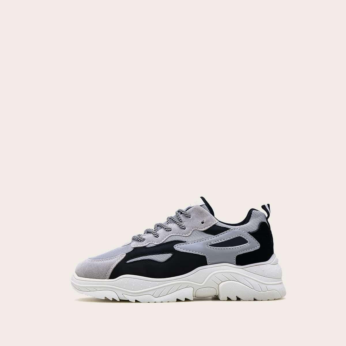 Grijs Comfortabel Kant Heren sneakers