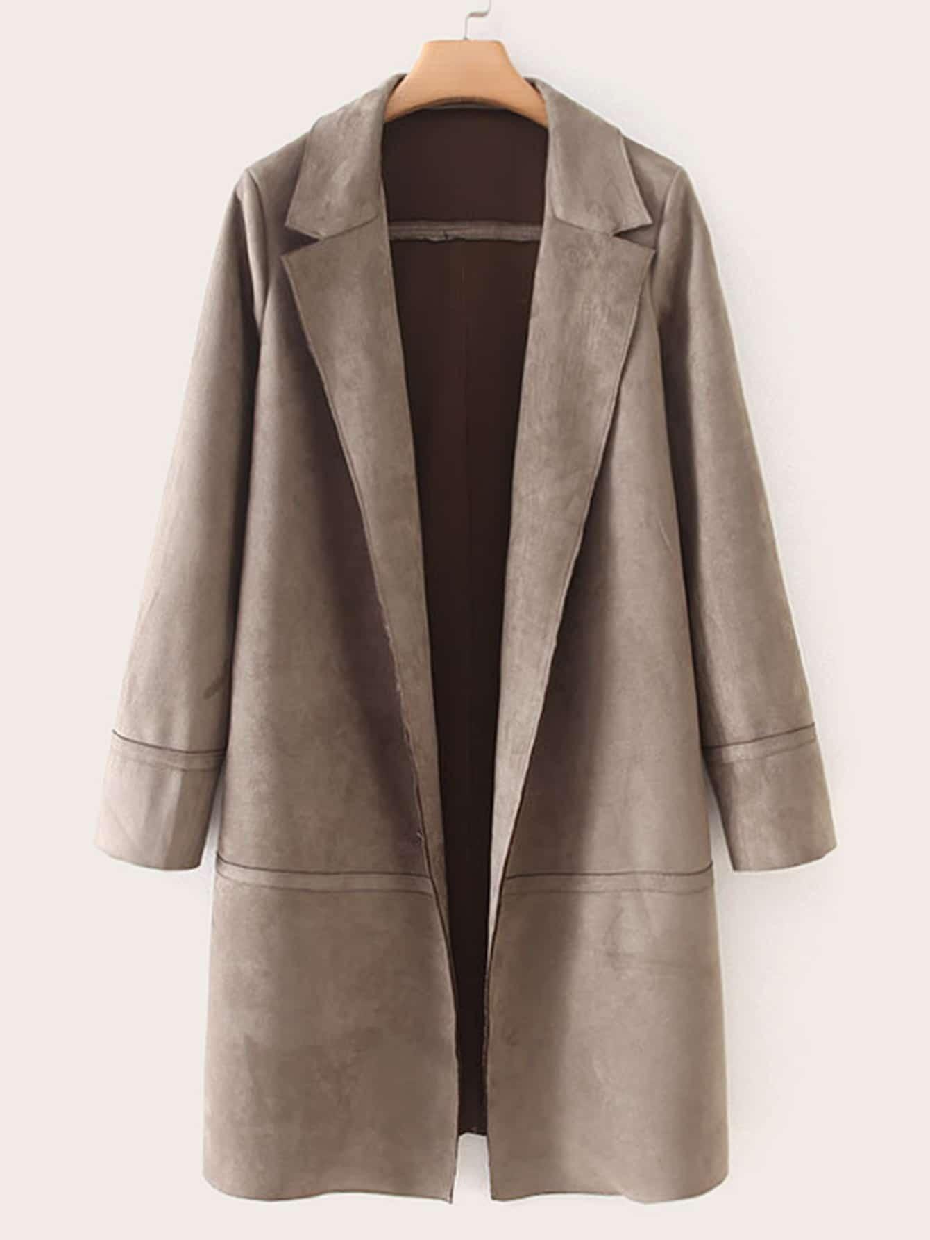 Однотонное замшевое пальто с оригинальным воротником