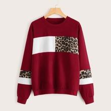 Contrast Leopard Print Round Neck Sweatshirt