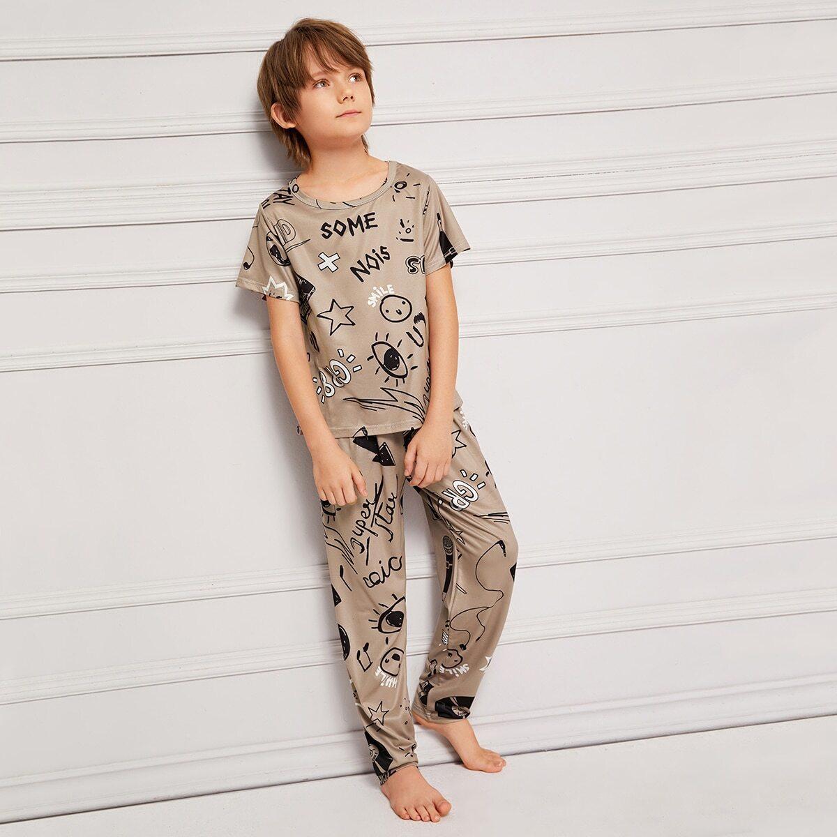 Пижама с мультяшным принтом для мальчиков от SHEIN