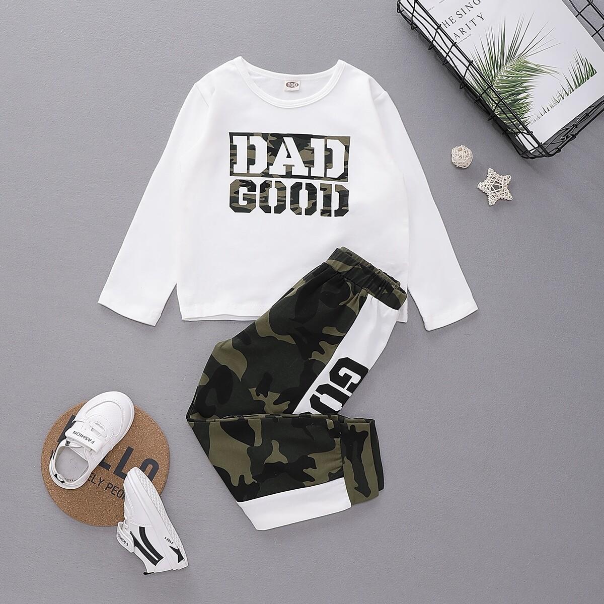 Камуфляжные спортивные брюки и футболка с текстовым принтом для девочек от SHEIN