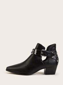 Point Toe Studded Decor Ankle Boots
