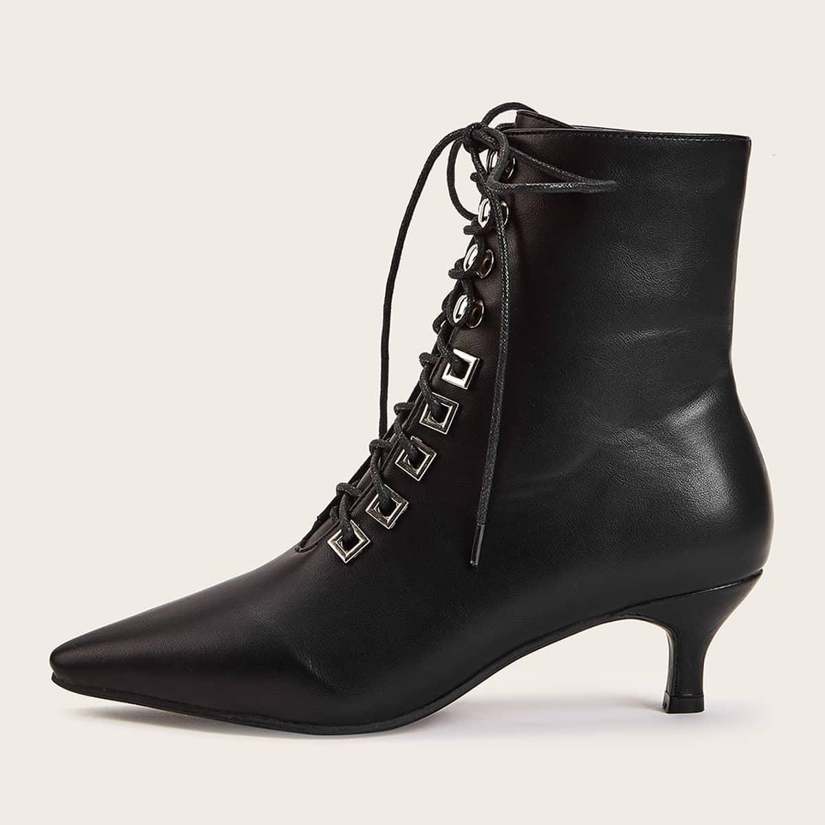 Puntschoen veter veter laarzen met hak