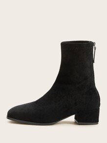 Zip Back Chunky Heeled Boots
