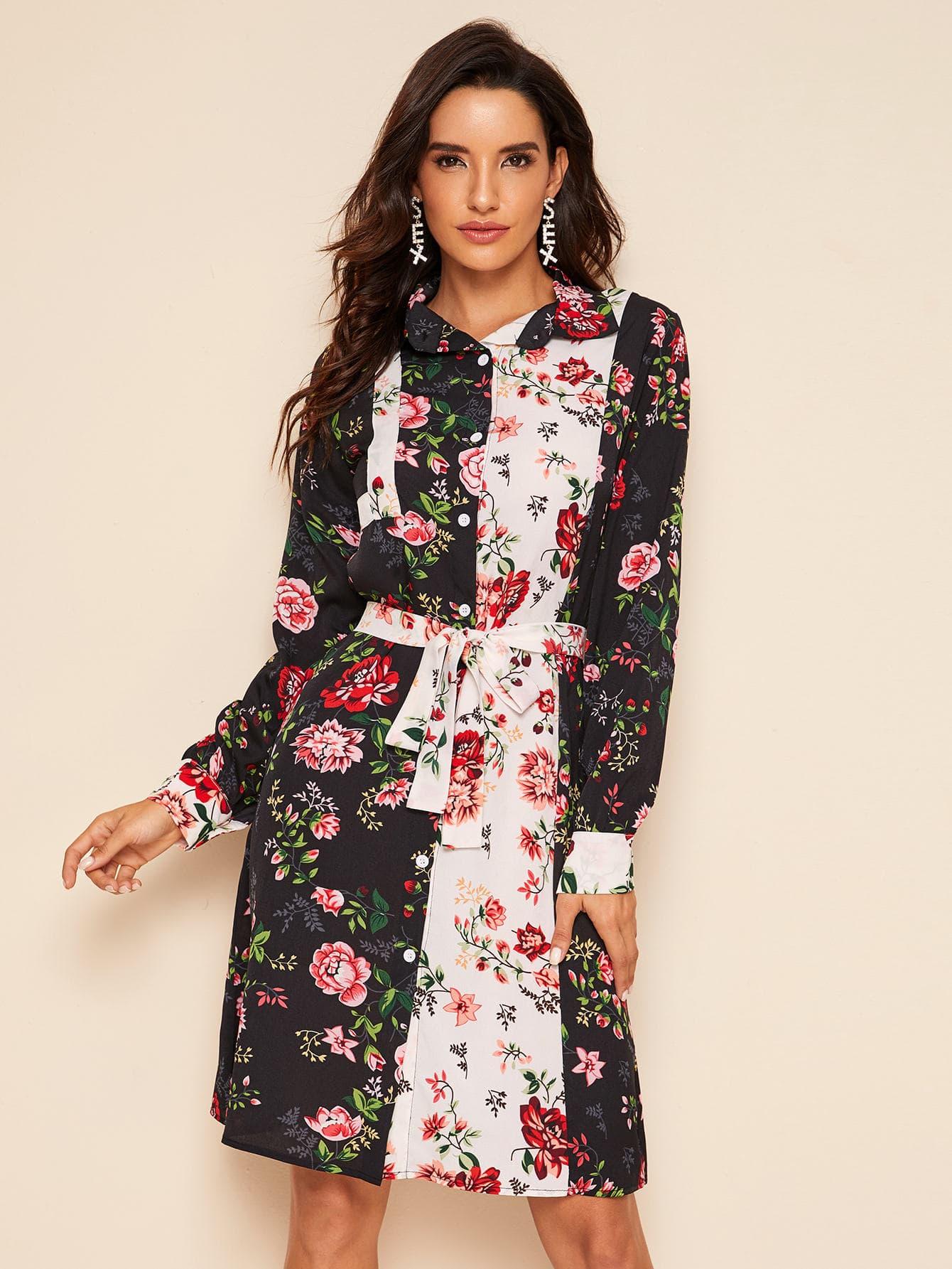 Двухцветное платье-рубашка с цветочным принтом