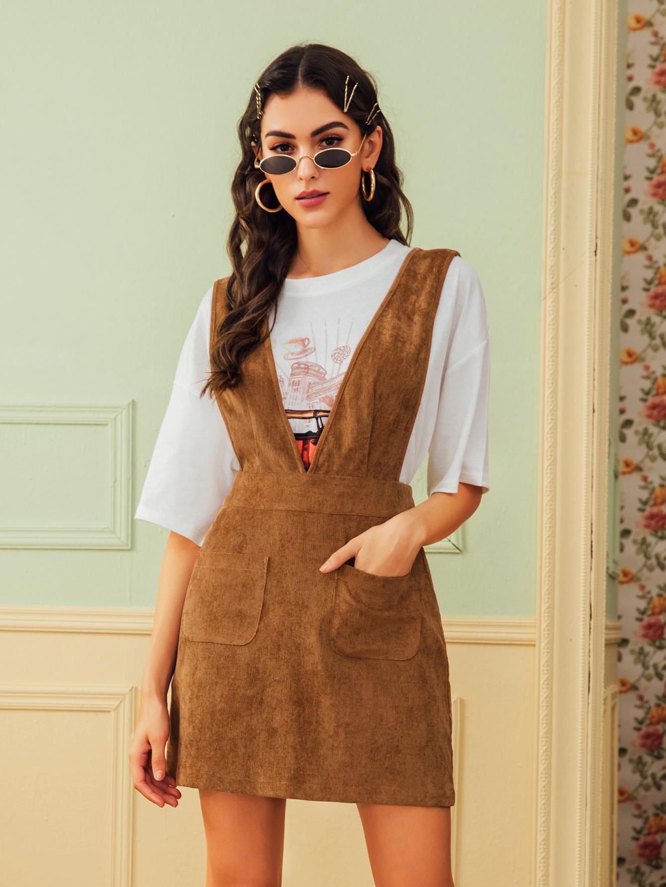 Dual Pocket Corduroy Suspender Dresses