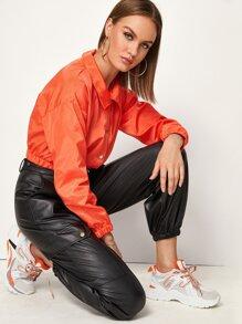 Windbreaker | Through | Orange | Button | Jacket | Neon