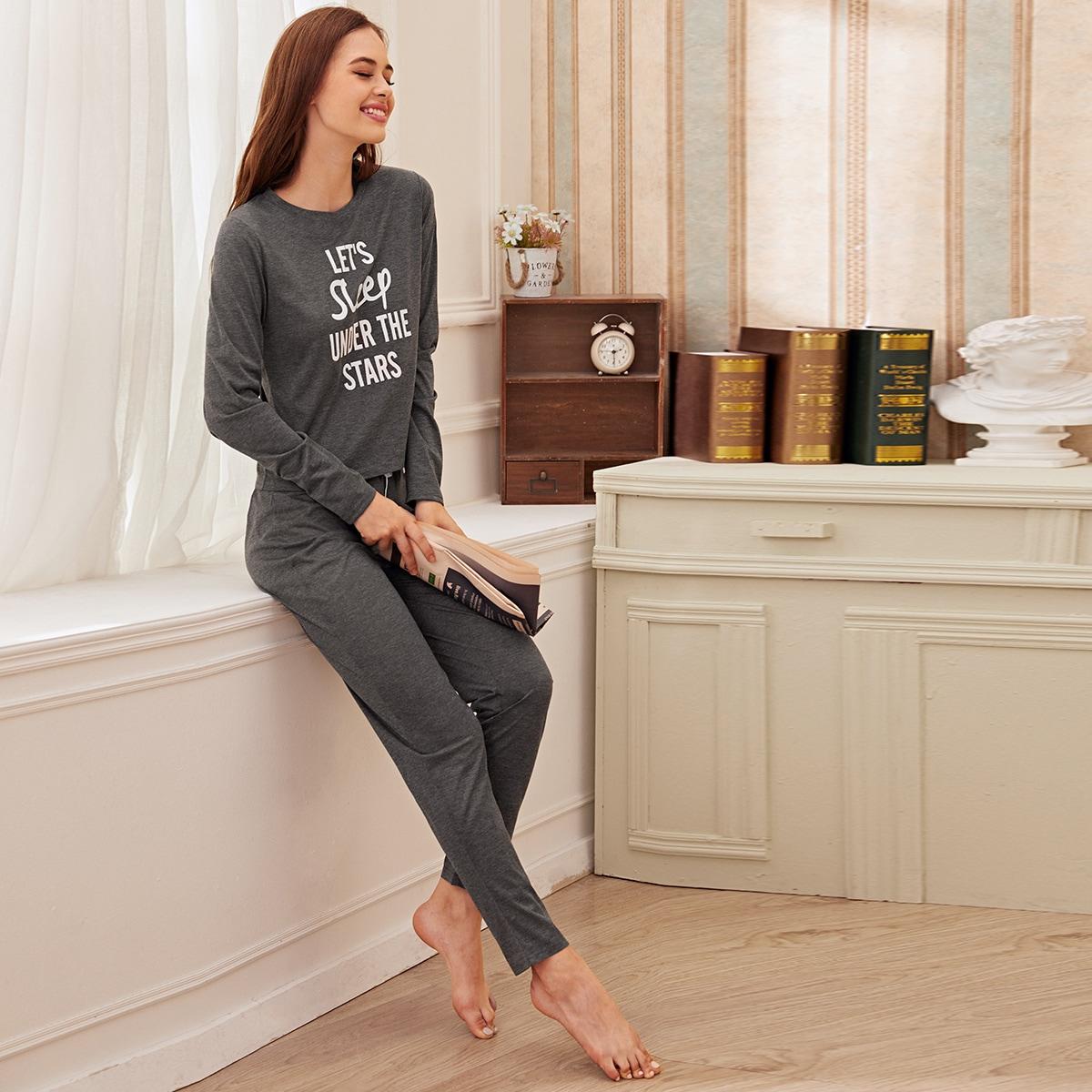 Grijs Casual Tekst Lounge kleding