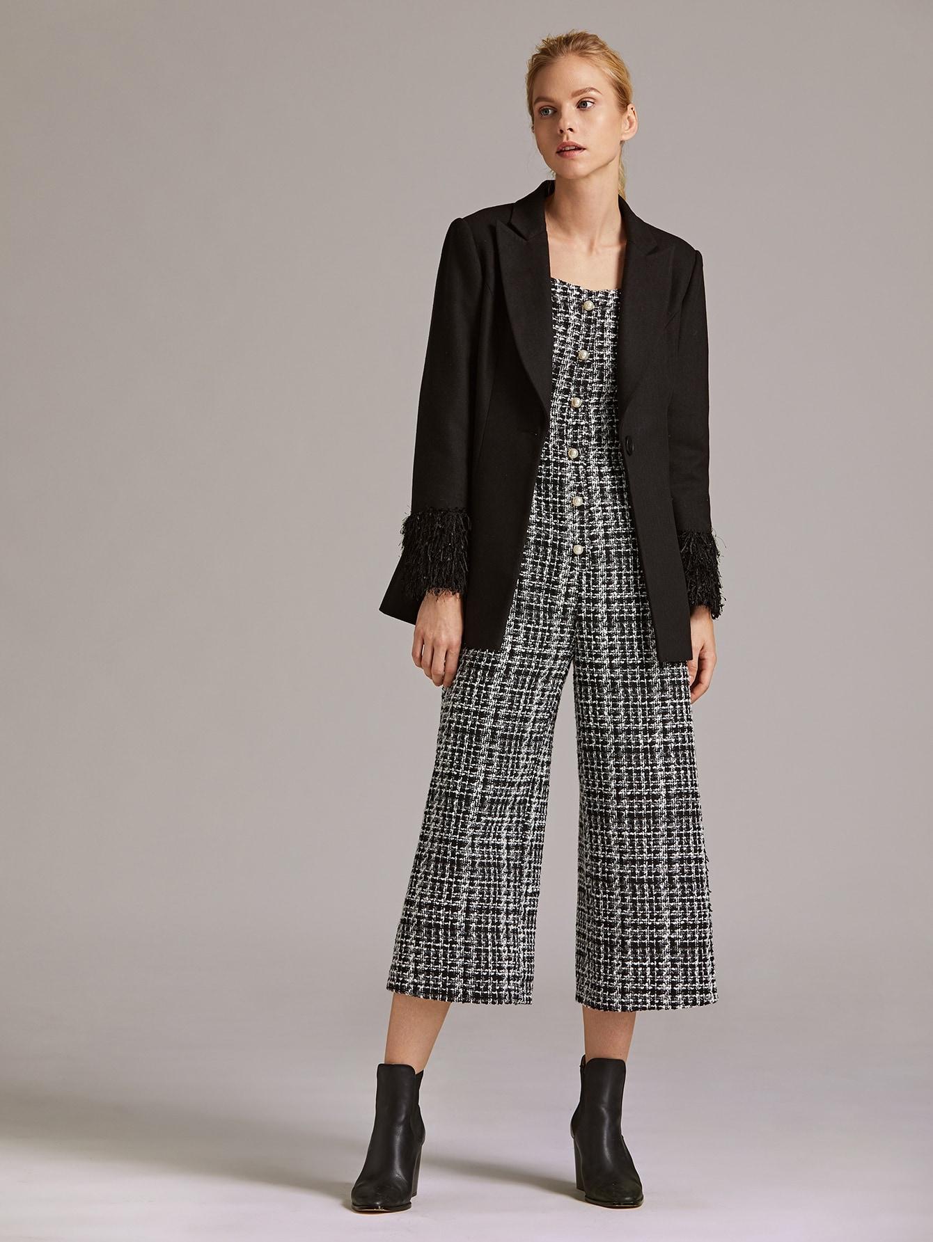 Notched Collar Faux Fur Cuff Blazer, Denisa, SheIn, Black  - buy with discount