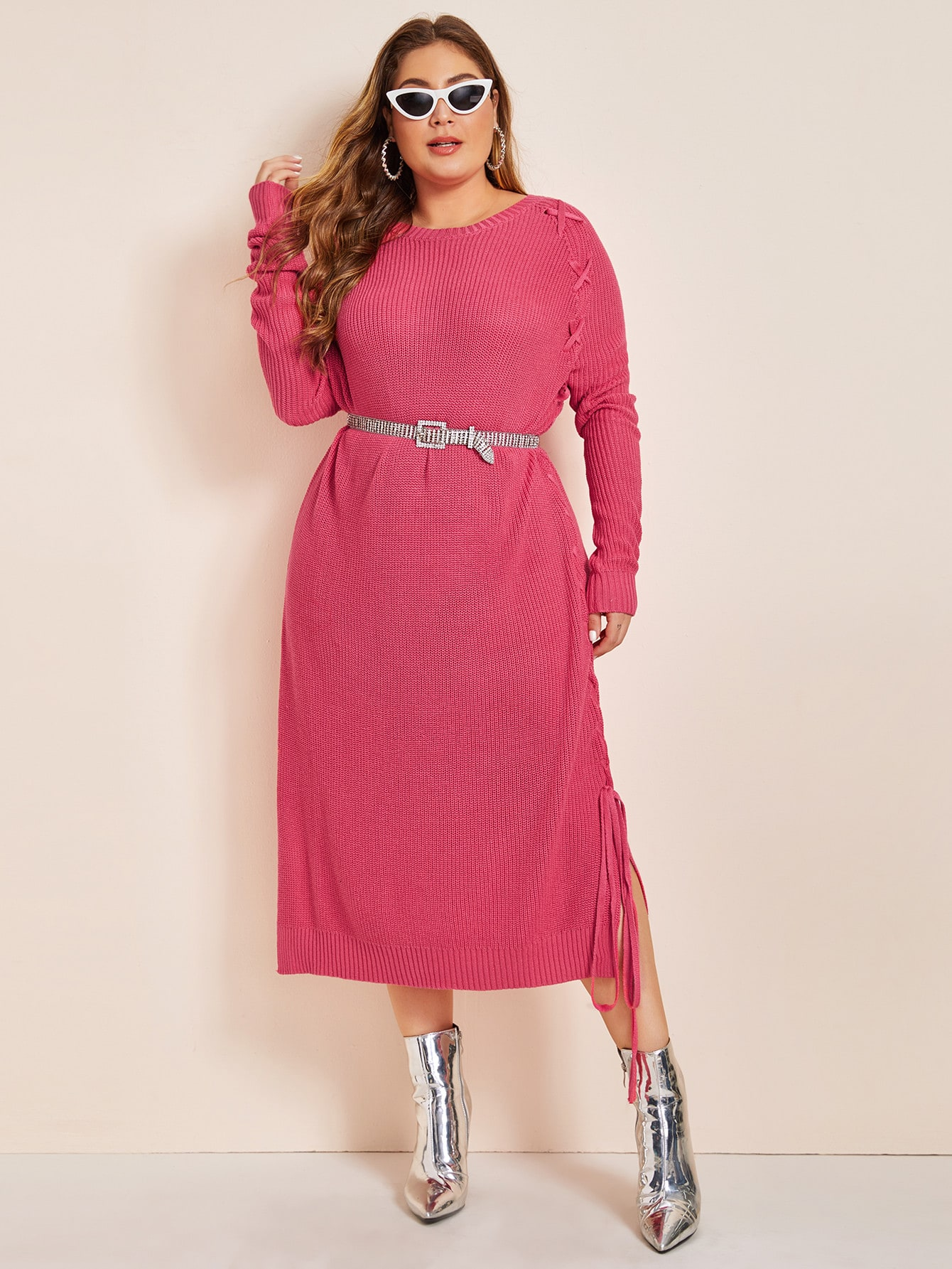 Plus Neon Pink Lace Up Slit Hem Sweater Dress Without Belt Carol