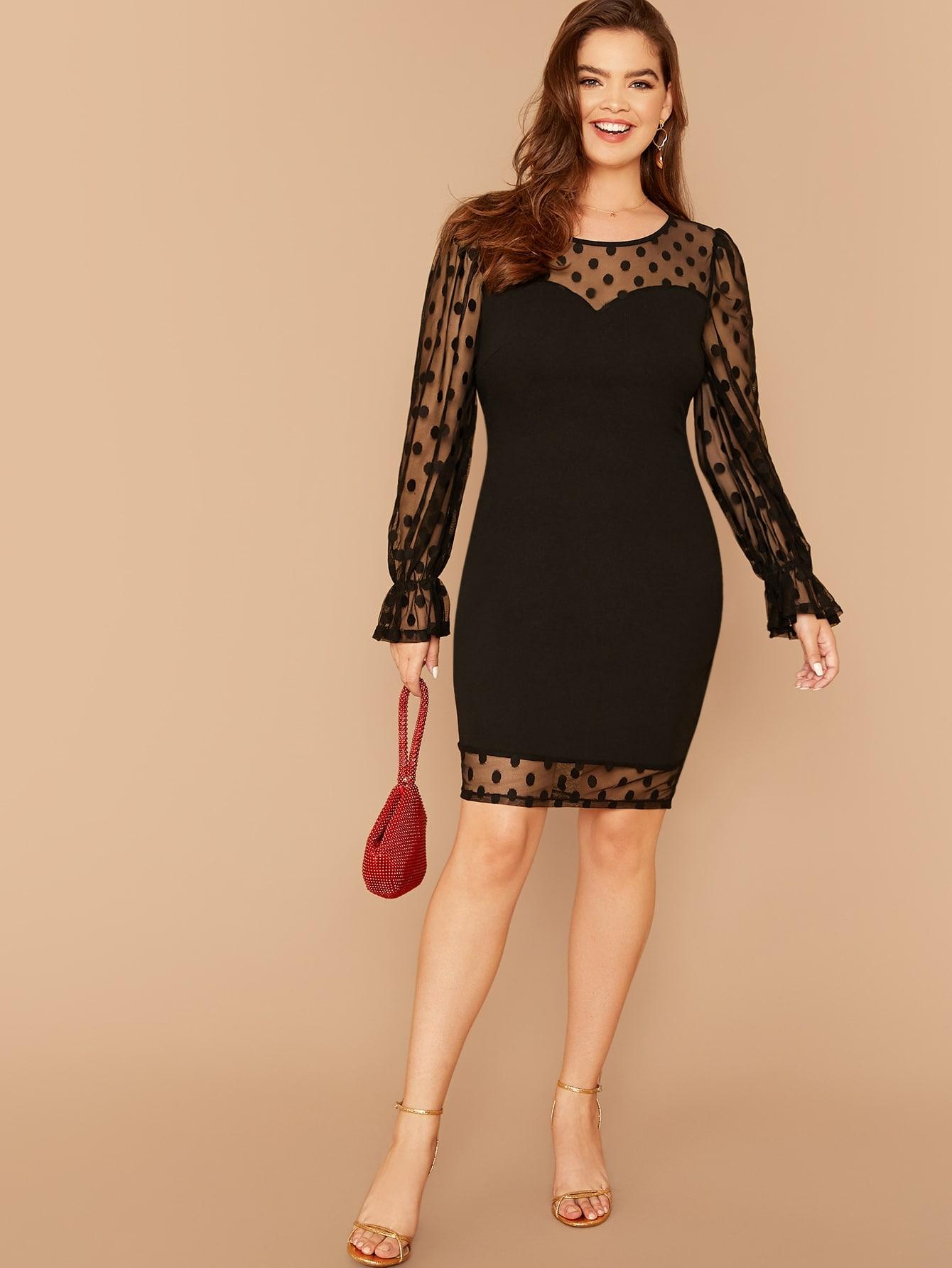 Платье-карандаш с сетчатым плечом размера плюс