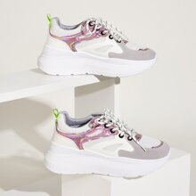 Holographic Panel Lace-up Front Chunky Sneakers