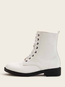 Lace-up Front Textured Combat Boots