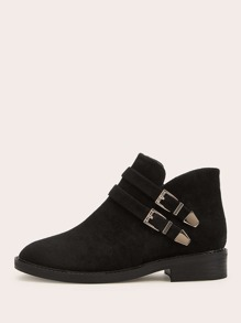 Double Buckle Decor Ankle Boots
