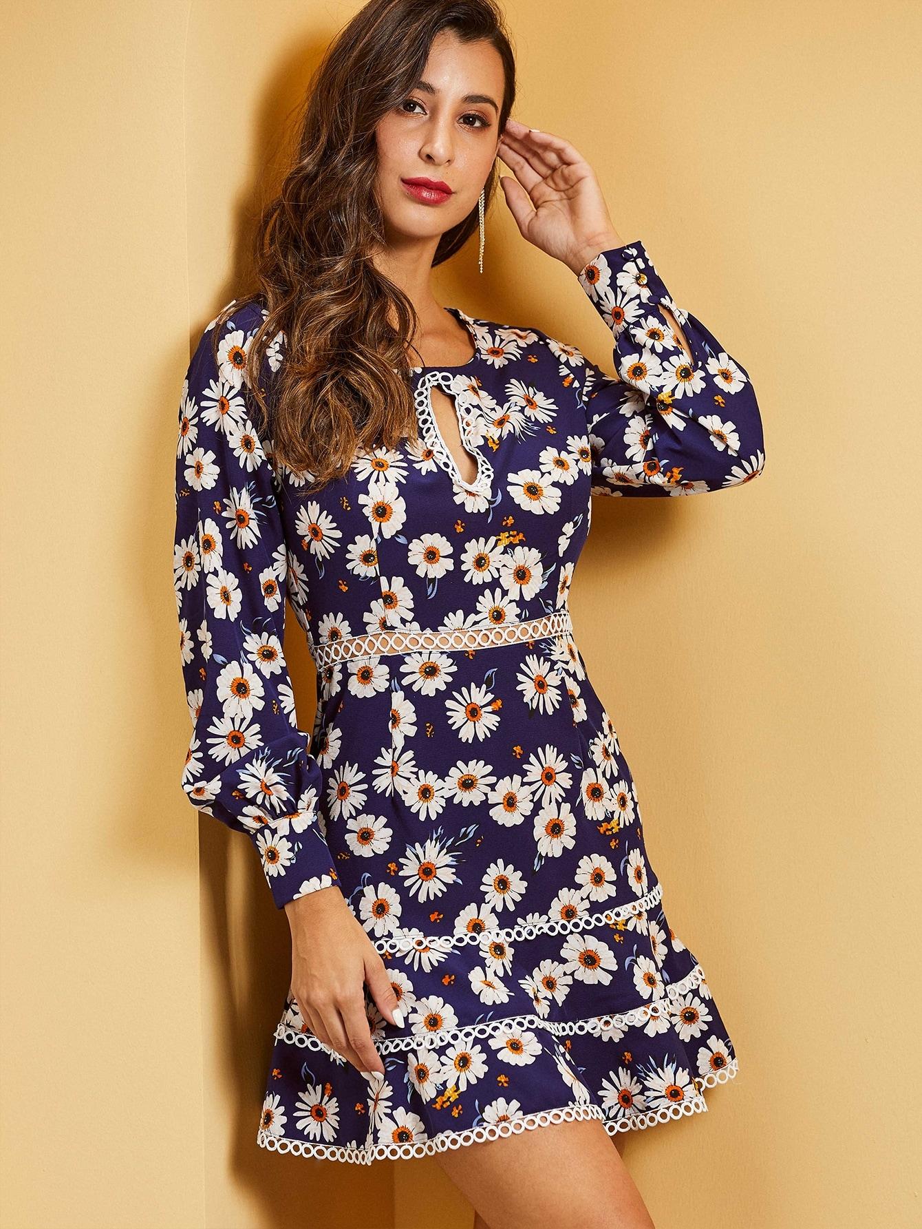 SBetro платье с кружевной отделкой и цветочным принтом