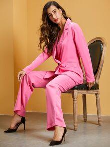 Blazer   Collar   Neon   Pink   Pant   Set
