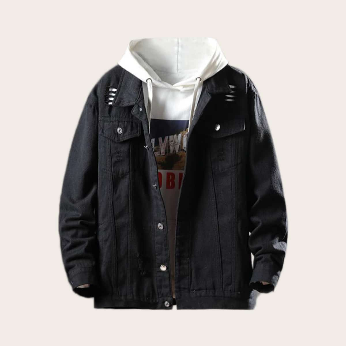Zwart Casual Vlak Heren Jeans jassen Zak