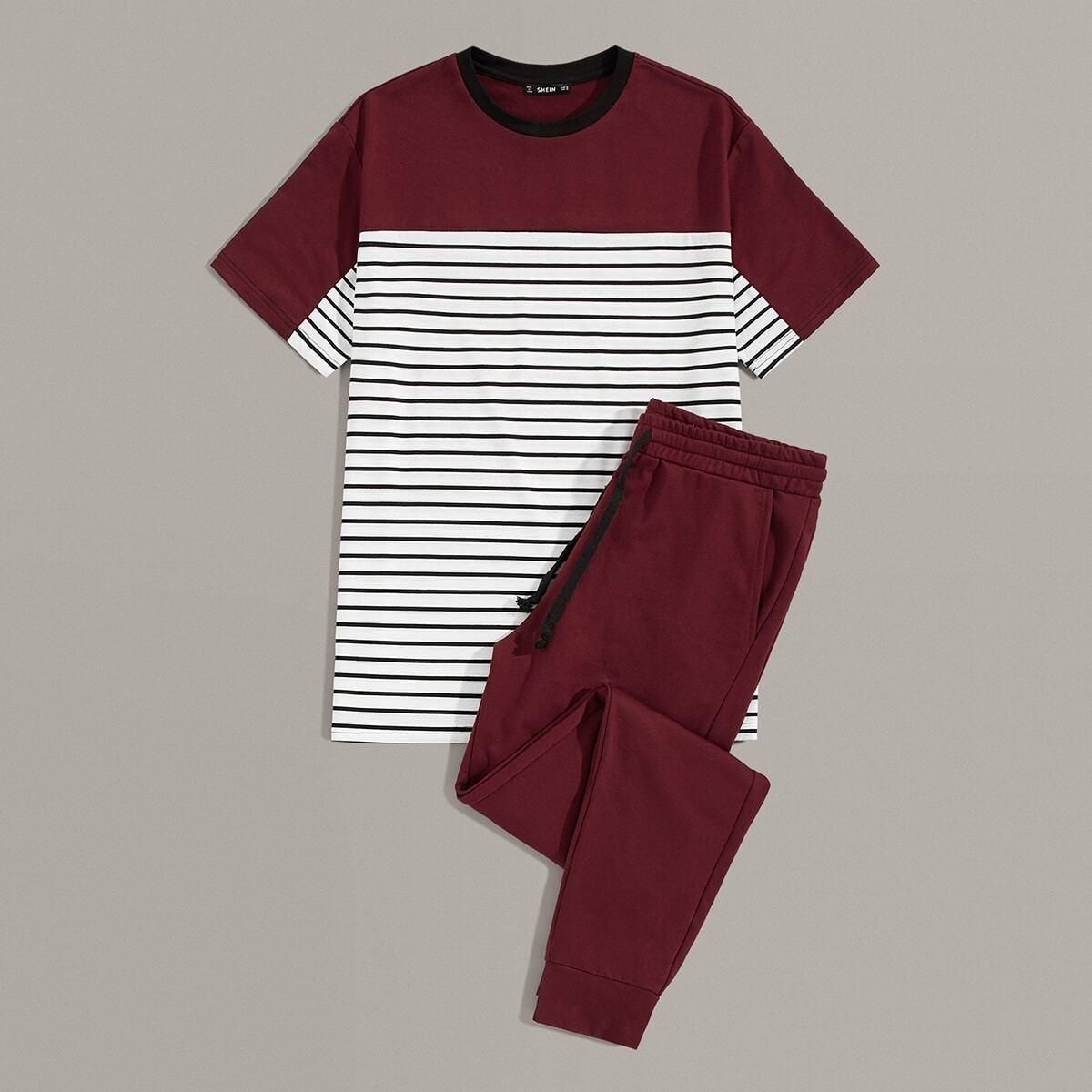 Мужские однотонные брюки и контрастная футболка в полоску от SHEIN