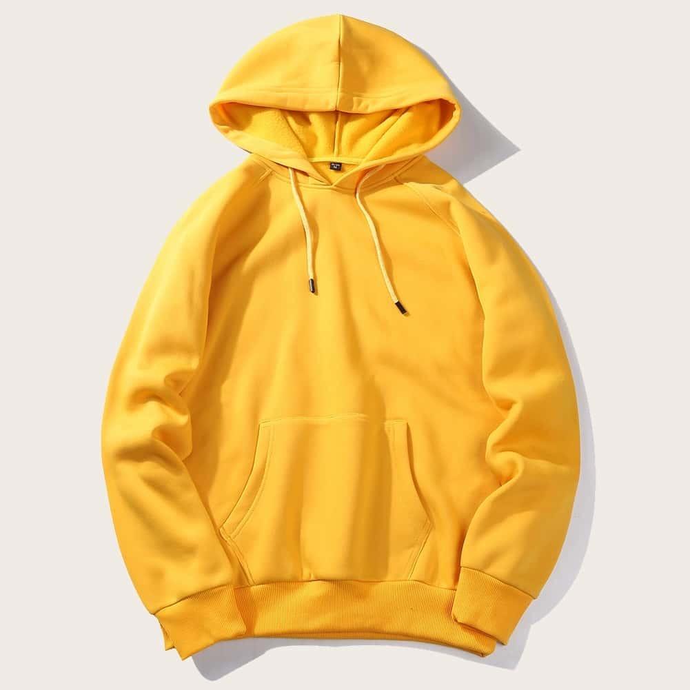 Geel Casual Koord Vlak Sweatshirts voor heren