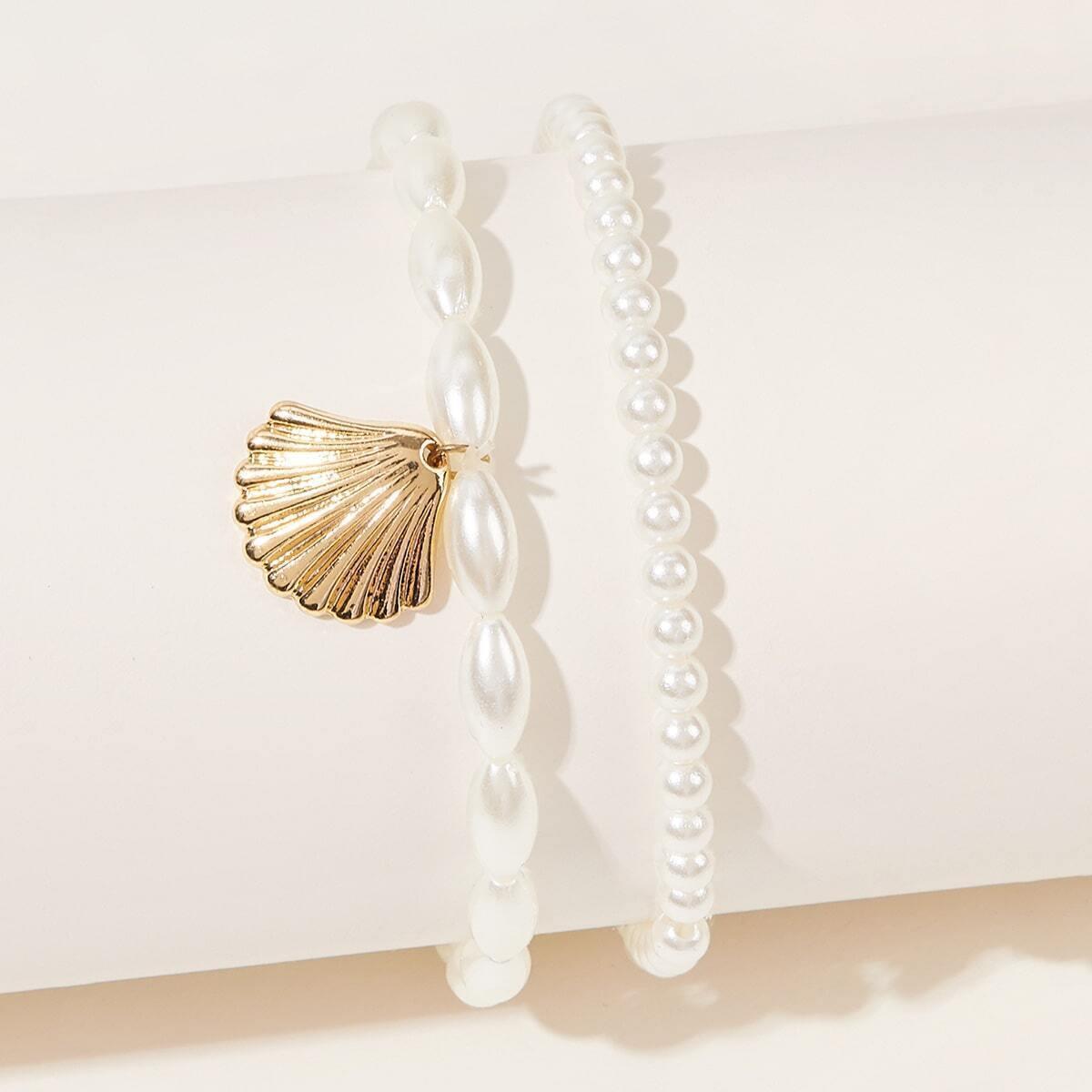 SHEIN / Fußkette mit Muschel Anhänger und Perlen 2 Stücke