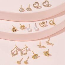 Rhinestone Engraved Heart and Flower Stud Earrings 9pairs