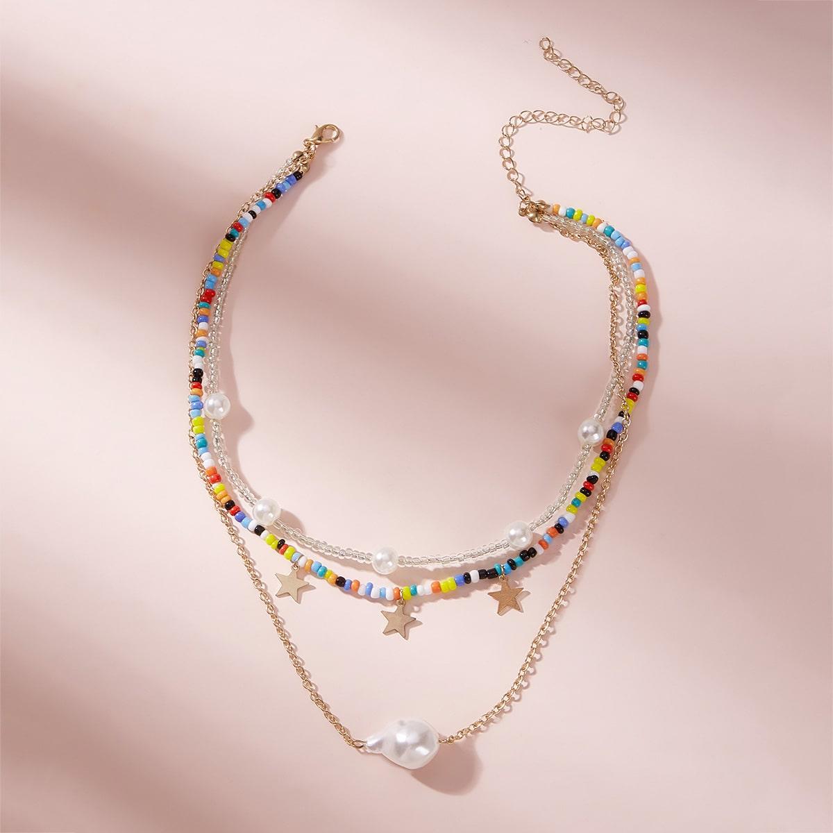 SHEIN / Mehrschichtige Halskette mit Kunstperlen & Stern Anhänger 1 Stück