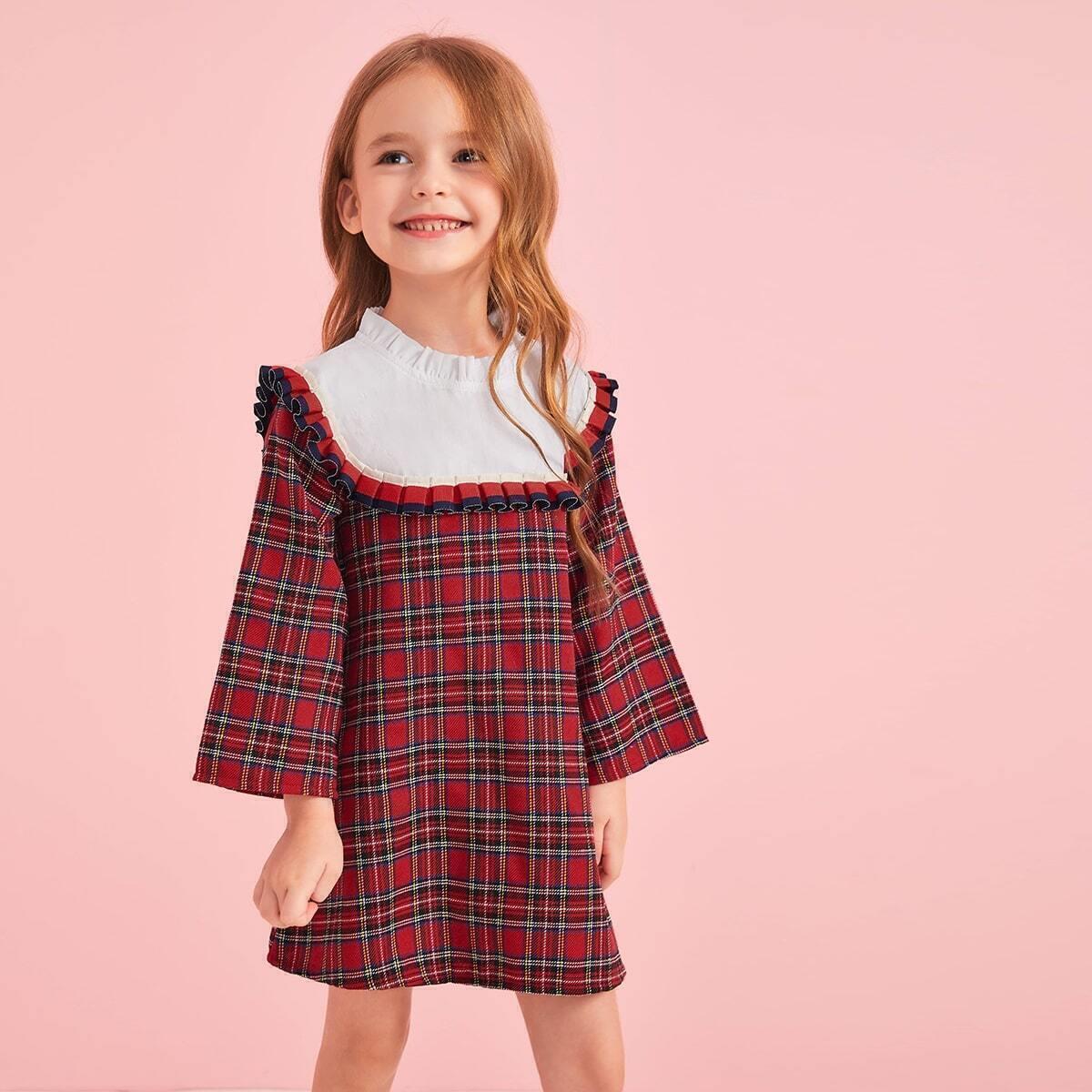 SHEIN / Kleinkind Mädchen Tunika Kleid mit Kontrast Einsatz, Rüschenbesatz und Karo Muster