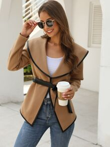 Contrast Binding Waterfall Collar Belted Coat