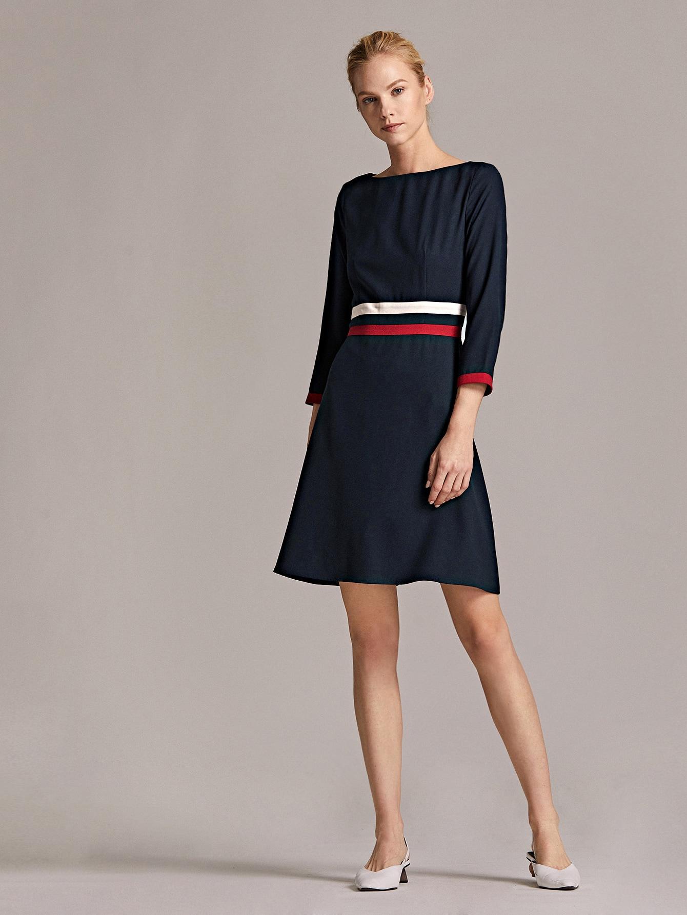 SHEIN / Premium Vestido con cinta de rayas en contraste