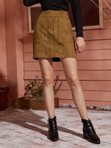 Straight | Suede | Skirt | Back