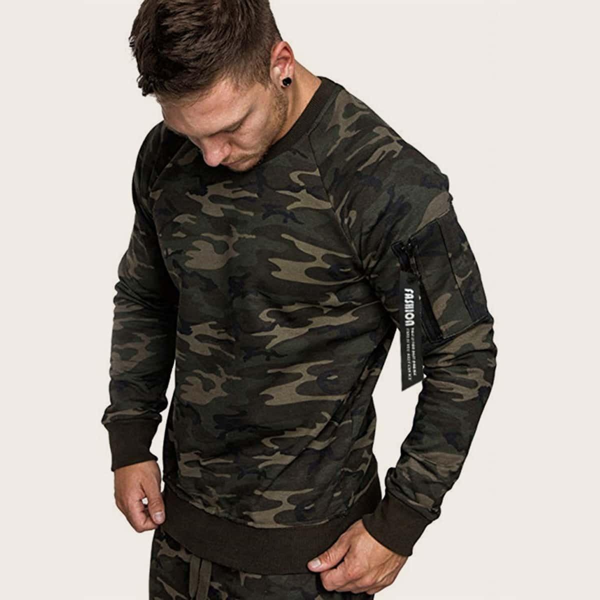 Veel kleurig Casual Zak Camouflage Sweatshirts voor heren