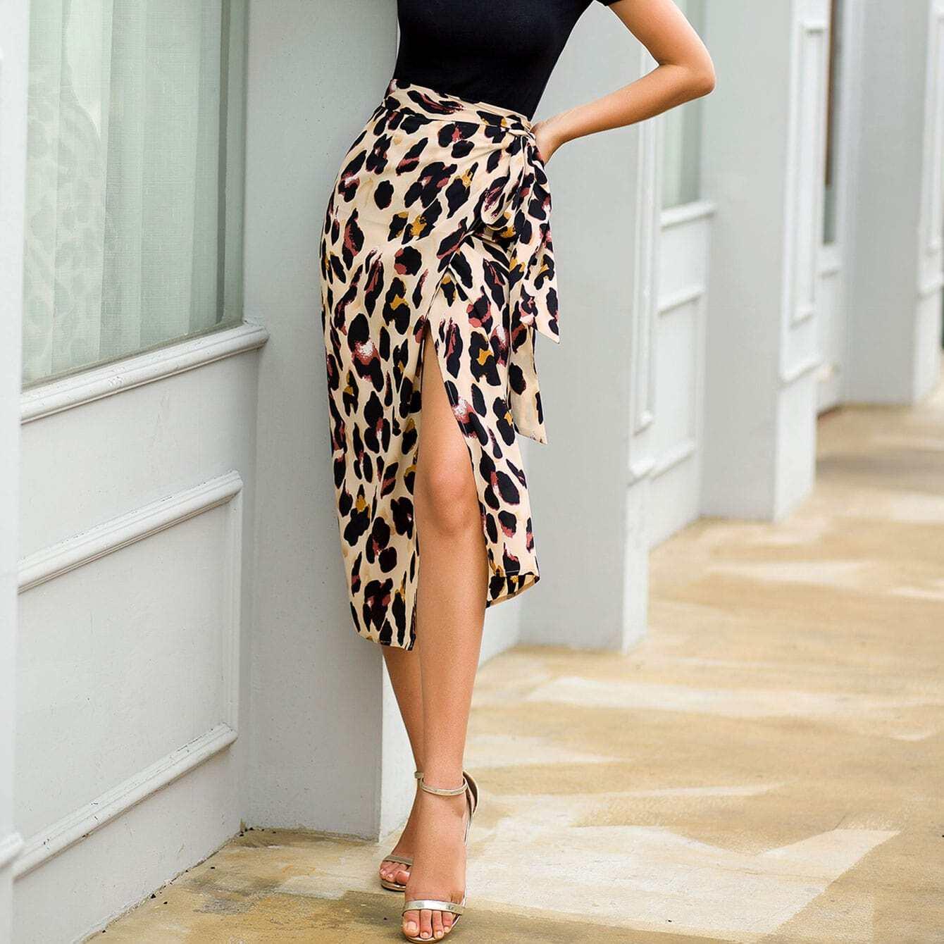Leopard Print Tie Side Wrap Skirt